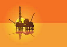 Illustration of oil platform on sea and sunset in  Stock Photography