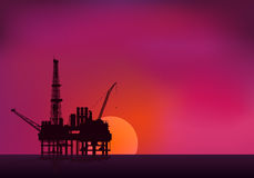 Illustration of oil platform on sea and sunset in background. Ve Royalty Free Stock Images