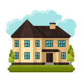 Illustration of old brick cottage on clouds Royalty Free Stock Images