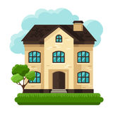Illustration of old brick cottage on clouds Stock Photography