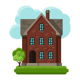 Illustration of old brick cottage on clouds Stock Image