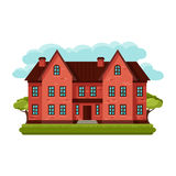 Illustration of old brick cottage on clouds Royalty Free Stock Photo