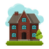 Illustration of old brick cottage on clouds Stock Image
