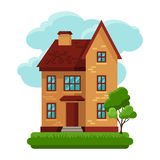 Illustration of old brick cottage on clouds Stock Photos
