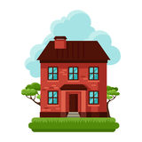 Illustration of old brick cottage on clouds Royalty Free Stock Image