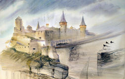 Illustration of the old castle Stock Images
