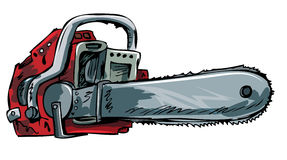 Illustration of old chainsaw. Isolated on white Stock Images