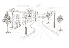 Illustration -- Old City. Graphic vector illustration -- of the Old City Street royalty free illustration