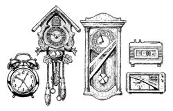 Illustration of old clocks Stock Photo