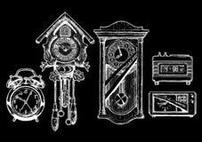 Illustration of old clocks stock illustration