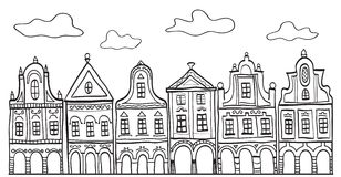 Illustration of old decorated village houses Stock Image
