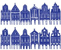Illustration of old decorated village houses Royalty Free Stock Images