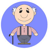 Illustration of the old grandfather with a cane Royalty Free Stock Photo