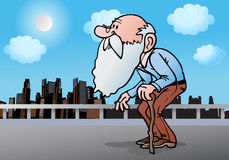 Old man with cane. Illustration of an old  man holding a cane on city background Stock Images