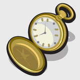 Illustration of old opened vintage pocket clock Stock Photos