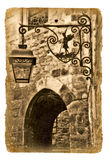 Illustration on the old paper with old lantern Stock Photography