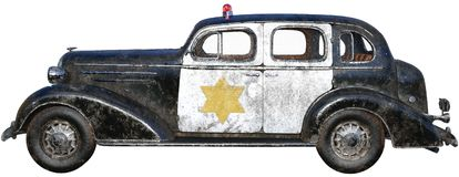 Old Retro Vintage Police Car Isolated Royalty Free Stock Photos