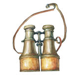 Illustration of old sea binoculars. Stock Photo