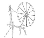 Illustration of old spinning wheel Royalty Free Stock Photography
