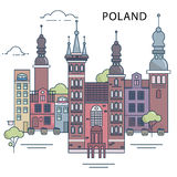The illustration of old town in the Poland Royalty Free Stock Images
