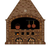 Illustration of an old traditional kitchen fireplace-stove. Illustration of an old traditional kitchen with fireplace-stove, oldfationed cooker, copper kettle Stock Photography