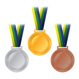 Illustration olympique de bronze d'argent d'or de médailles Photographie stock