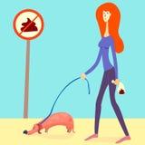 Illustration om val upp din hunds av akter Den röda haired flickan valde upp en skiten hund och satte den in i en vovvepåse vekto stock illustrationer