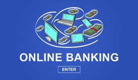 Concept of online banking Stock Photos
