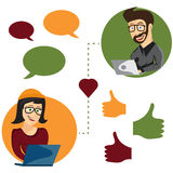 Illustration of online dating man and woman app icons in Stock Images