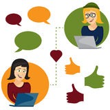 illustration of online dating woman and woman app icons i Royalty Free Stock Images