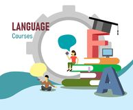 Illustration for online foreign language courses in the style of flat with letters, characters and a pile of books. royalty free illustration