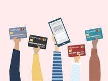 Illustration of online payment with credit card Stock Images