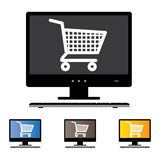 Illustration of online shopping using Desktop/PC/Computer. With the concept graphic showing computer screen with cart icon in black and white. Also included are Stock Images