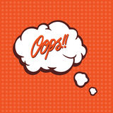 Illustration of a Oops in comic stile, on cloud Royalty Free Stock Photography