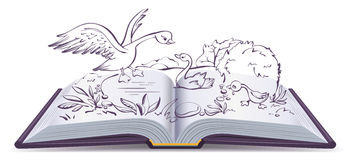 Illustration open book fairy tale of ugly duckling Royalty Free Stock Photography