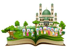 Open book with happy islamic kids holding letters and wishing Eid Mubarak in front of a mosque. Illustration of open book with happy islamic kids holding letters vector illustration