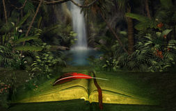 Illustration of an open book in the jungle. Abstract illustration of an open fantasy book in the jungle Royalty Free Stock Photo