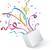 Open box with colorful confetti and ribbon Royalty Free Stock Images