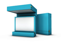 Illustration of Open box  on a white background. 3D illustration of Open box  on a white background Stock Images