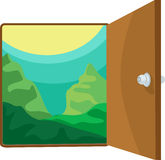 Illustration open the door. On white background Royalty Free Stock Photos