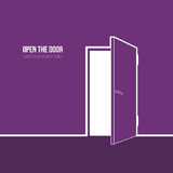 Illustration of open door. Vector illustration of open door. Symbol of freedom, hope, success, new way Stock Image