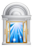 Marble door entrance. An illustration of an open marble door entrance with blue light on the other side, could be a concept for heaven or the afterlife Stock Photos