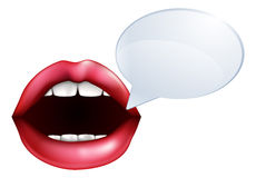 Mouth or lips talking. An illustration of open mouth or lips talking with a speech bubble for the words Stock Photography