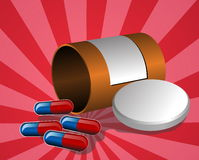 Illustration of open pillbox. With pills, spilled red and blue capsules Stock Images