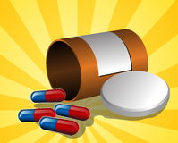 Illustration of open pillbox with pills Stock Photos