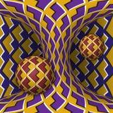 Illustration optique d'illusion de mouvement Deux sphères sont rotation autour d'un hyperboloid mobile Imagination abstraite dans illustration libre de droits