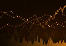Illustration of orange business chart of growth and fall in stock, money or commodity prices with lines and background change,. Illustration of orange business royalty free illustration