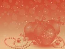 Orange Christmas balls on an orange background, white lights, il stock photography
