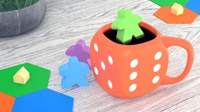illustration Orange cup of coffee. Board game, dice and meeples are on the table. 3d rendering stock illustration