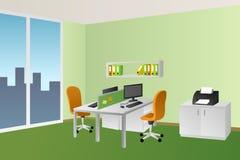 Illustration orange de fenêtre de chaise de table blanche intérieure de vert de pièce de bureau Images stock